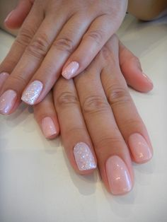 Having your ring finger different makes a big statement.  Here we've done the ring finger in a solid irridescent glitter finish.  We've also created a beautiful neutral colour with Bio Sculpture Gel colours, #78 Baby Doll & #71 Champagne, on top.