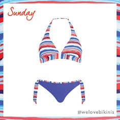 Just Peachy Blue Wave Stripe Soft Cup Triangle Bikini Top Set in Multicoloured #BikiniOfTheDay #Sunday #figleaves