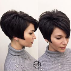 Pixie Haircuts for Thick Hair – 50 Ideas of Ideal Short Haircuts - Tapered Angled Pixie Haircut For Thick Hair - Pixie Haircut For Thick Hair, Short Wavy Hair, Short Hair With Layers, Short Hair Cuts For Women, Short Hair Styles, Short Cuts, Frontal Hairstyles, Bob Hairstyles, Medium Hairstyles