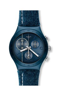 FOLLOW THE LINE  Reference: YCN4008 Collection: Denim Family: Irony Strap material: Fabric/Leather Case material: Aluminium  Functions Date Chronograph Water-resistance: 3 Bar  Case dimension Ø: 40,00 mm L: 12,30 mm H: 46,00 mm