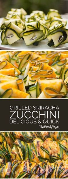 Grilled Zucchini Ribbons With Sriracha Marinade The Greedy - These Grilled Zucchini Ribbons Are A Fantastic Side Or Vegan Option At Any Bbq They Are Brilliant Served Hot But Also Make A Great Cold Addition To Salads Grilling Recipes, Vegetable Recipes, Vegetarian Recipes, Cooking Recipes, Healthy Recipes, Vegetarian Grilling, Healthy Grilling, Barbecue Recipes, Vegan Barbecue