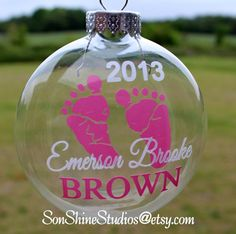 Wow the Mom-to-Be with a personalized ornament for her baby with name and year. Ornaments are glass and are 3-1/8 in diameter with a silver