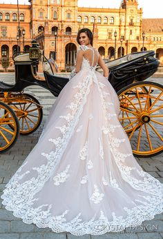 Crystal Design 2017 bridal long sleeves illusion boat sweetheart neckline heavily embellished bodice princess pink ball gown wedding dress sheer back royal train (leda) bv