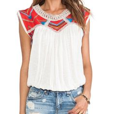 Free People Tribal Embroidered Top Thick embroidery creates cool geo patterns across this slub-knit top.   * Brand New * 100% viscose * Elasticized hem * No Trades  Free People  Tops Blouses