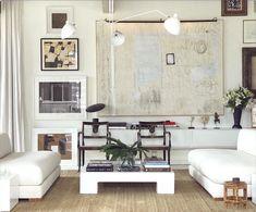 William McLure contemporary interiors - white on white living room - custom abstract art Decor, Interior Art, Blue Living Room, Contemporary Interior, Home Art, White Painted Floors, Interior Design, Room, Neutral Living Room