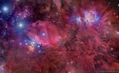 The constellation of Orion holds much more than three stars in a row. A deep exposure shows everything from dark nebula to star clusters, all embedded in an extended patch of gaseous wisps in the g...