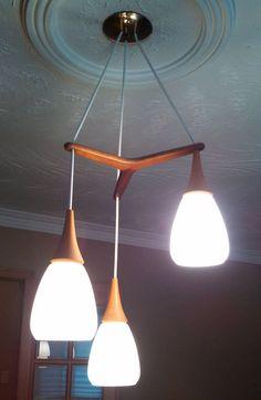 Mid-century modern Danish style light fixture - 3 pendants with glass lamp shades