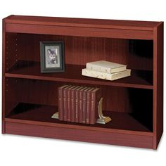 Mahogany Two Shelf Square Edge Veneer Bookcase Safco Products Free Standing Shelves & 2 Shelf Bookcase, Small Bookshelf, Bookshelves, Office Furniture, Office Decor, Childrens Bookcase, Traditional Bookcases, Industrial Shelving Units, Free Standing Shelves