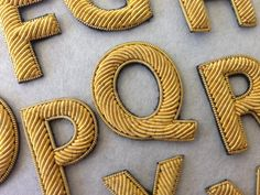 Hand Embroidered Block Gold Letters