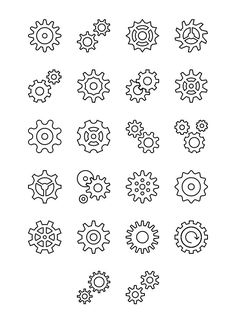 Cogwheel Line and Solid Icons by EDT. Gear Tattoo, I Tattoo, Hippie Symbols, Biomechanical Tattoo Design, Notebook Drawing, Car Signs, Zentangle Drawings, Flash Art, Cogs