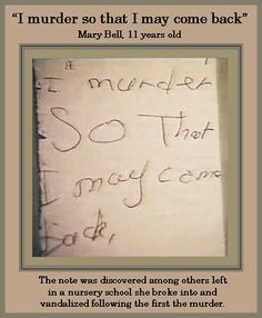 Mary Bell, 11 year old killer