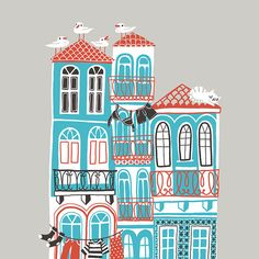 Art Print of Porto's Architecture - pretty detailed giclee illustration of houses with tiles, seagulls, cat. In red, blue, black, grey.
