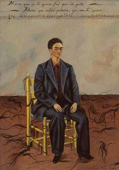 """harteconhache: """" Frida Kahlo - """"Autorretrato de pelona"""" (1940, óleo sobre lienzo, 40 x 27 cm, MOMA, Nueva York) Frida Kahlo pintó este autorretrato al poco tiempo de divorciarse de Diego Rivera, tras diez años de azaroso matrimonio. En pleno ataque..."""