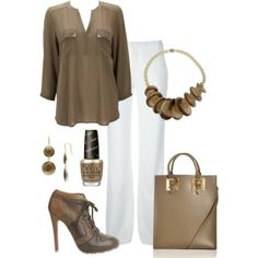 White Pants Outfit. Maybe do black pants and shoes for fall.