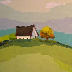 Golden Farmhouse 8x8 Original Barn Oil Painting on by DonnaWalker