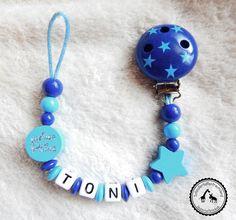 ♥ Schnullerkette mit Namen ★ Prinz/Stern in dunkelblau/blau ♥ NEU
