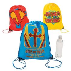 """Jesus is My Superhero"" Drawstring Backpacks - OrientalTrading.com"