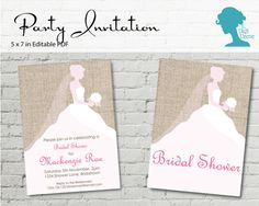 Digital Party Printable Invitation: Pink & White Bride by digidame