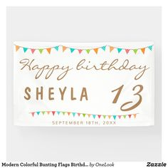 Modern Colorful Bunting Flags Birthday Party Banner
