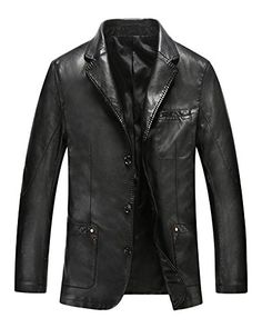 c1d4835d6c2 Xmenhere Men s Stylish Long Sleeve Button Before Leather Mid Lapel Jacket  Black L Xmenhere http
