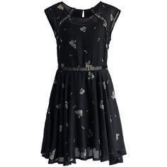 Chicwish Delicate Floret Eyelet Dress in Black ($40) ❤ liked on Polyvore featuring dresses, short dresses, vestido, black, baby doll dress, black keyhole dress, eyelet dress, mini dress and cut out mini dress