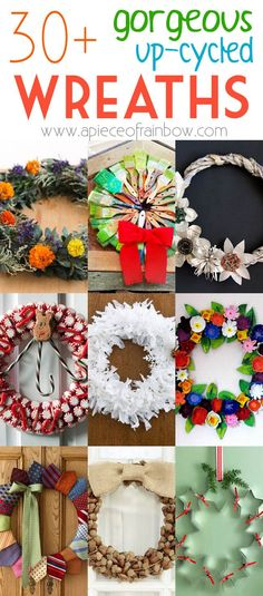 30 super creative gorgeous up-cycled DIY Christmas wreaths with great tutorials! Acorns tin cans old books egg cartons can all become great wreaths! - A Piece Of Rainbow