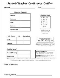 Kindergarten Parent Teacher Conference Form  Parent Teacher