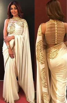 Bollywood Style Shilpa shetty white and gold saree Farah sari blouse Netted Blouse Designs, Blouse Neck Designs, Saree Jacket Designs Latest, Golden Blouse Designs, White And Gold Saree, Saree Jackets, Stylish Blouse Design, Bastilla, Saree Trends