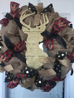Christmas Reindeer Wreath by DonellasWreathDesign on Etsy