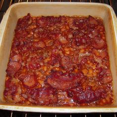 Ultimate Baked Beans Recipe Side Dishes with ground beef, water, white vinegar, onion soup mix, pork and beans, ketchup, brown sugar, prepared mustard, garlic cloves, bacon