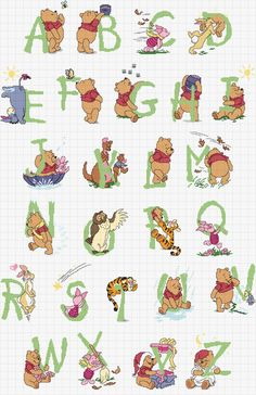 Cross-stitch Pooh ABCs.. no color chart available, just use pattern chart as your color guide.