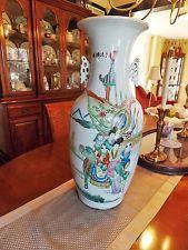 Rare Huge Beautiful Antique Chinese Handpainted Porcelain Poem Vase 19th Century