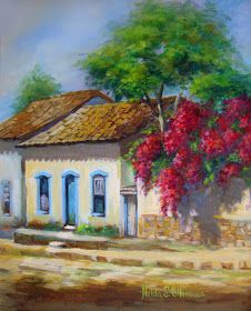 Spring on the wall – by Hilda Oliveira - Painting Easy Canvas Painting, Simple Acrylic Paintings, Painting & Drawing, Pictures To Paint, Art Pictures, Landscape Art, Landscape Paintings, Pintura Colonial, Illustration Art