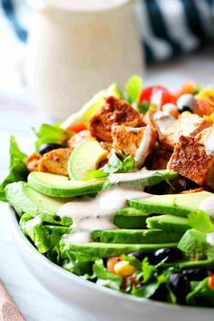 Southwest Chicken Salad with a focal emphasis on sliced avocados and dressing dripping down them. Chipotle Ranch Dressing, Ranch Dressing Recipe, Ranch Recipe, Lime Dressing, Low Carb Dressing, Homemade Chipotle, 5 Minute Meals, Southwest Chicken, Drying Dill