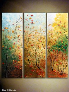 """ORIGINAL Landscape Painting.Abstract Painting.Heavy Textured.Palette Knife.Triptych.Fall.Autumn.36""""x 36"""" - by Nata S."""