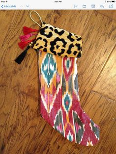 Ikat Stocking with leopard print top and tassels by HouseofJoie
