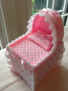 Tissue Box Cover, Pink Baby Bassinet