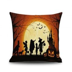 Halloween Night Square Linen Decorative Throw Pillow Case Cushion Cover - COLORFUL