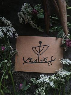 Handmade Cards with Petroglyph Ship designs — NorneWoven Iron Age, Kraft Paper, Trips, Birthdays, Greeting Cards, Handmade, Gifts, Design, Viajes