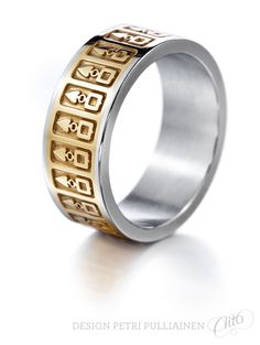 Stainless steel ring with laser engraved stripe. Institute Of Design, Stainless Steel Rings, Laser Engraving, Different Colors, White Gold, Wedding Rings, Rose Gold, Engagement Rings, Jewelry