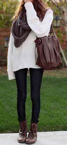 #fall #fashion casual / white knit + scarf