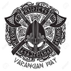 Viking helmet, crossed viking axes and in a wreath of Scandinavian pattern and N. Viking helmet, crossed viking axes and in a wreath of Scandinavian pattern and Norse runes, vector illustration Viking Tattoo Symbol, Celtic Knot Tattoo, Norse Tattoo, Celtic Tattoos, Wiccan Tattoos, Indian Tattoos, Viking Compass Tattoo, Odin Symbol, Norse Runes