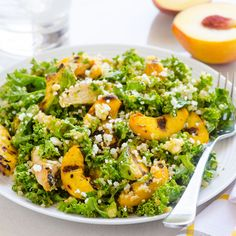 Grilled Peach, Avocado and Chicken Kale Quinoa Salad