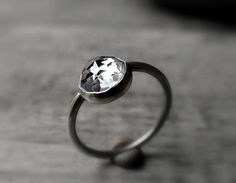 White Topaz Ring   Handcrafted Oxidized Recycled by BlueSideDesign