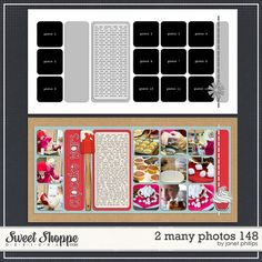 2 Many Photos 148 by Janet Phillips double page scrapbook layout & sketch