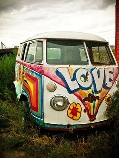 I just can't help pinning old vans with hippie paint. I only rode in a volkswagon once and it barely made it up the hill - but once was all it took to get the fever