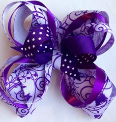 Large Elegant Purple Over The Top Bow by TheOneStopBowShop on Etsy, $10.00