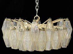 Italian mid-century modern Venini 'Poliedri' chandelier, designed by Carlo Scarpa, c. 1960's, #MidCenturyModernLighting #Venini #CarloScarpa