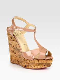 Christian Louboutin  Patent Leather T-Strap Cork Wedge Sandals