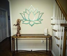 Lotus Flower Metal Wall Art Sculpture, Brushed Metal w/ Serenity Teal - Spiritual Wall Decor for the Modern Home, Yoga Studio or Meditation by Arte & Metal Outdoor Metal Wall Art, Large Metal Wall Art, Metal Wall Decor, Wall Sculptures, Sculpture Art, Modern Outdoor Decor, Lotus Art, Thing 1, Decorating Blogs